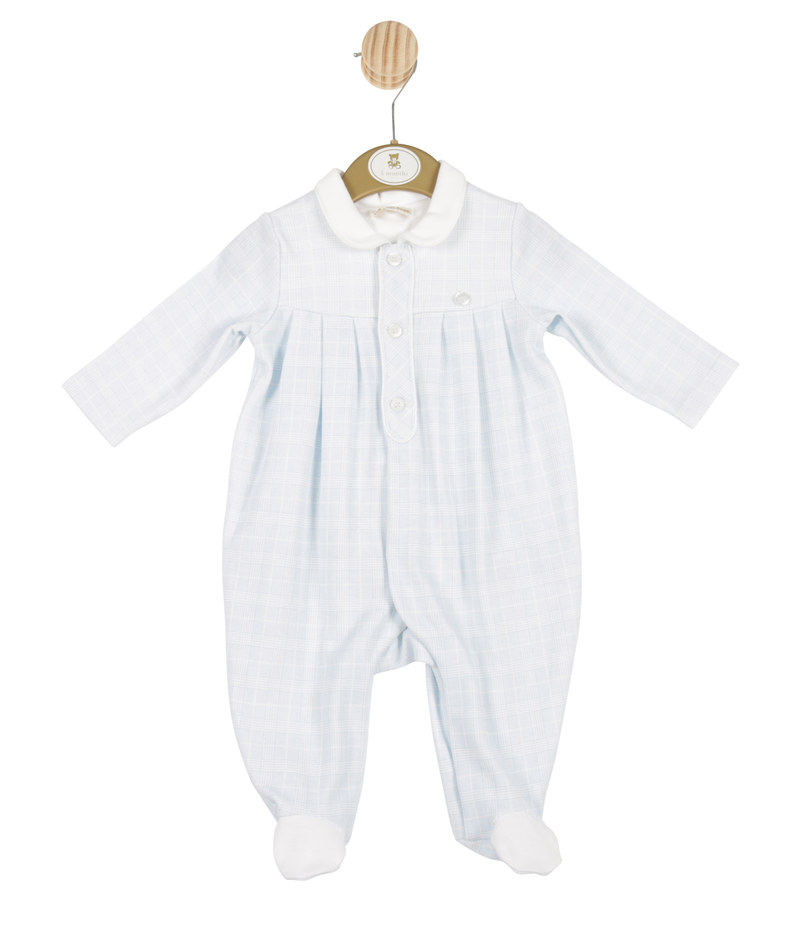 MB3343 | Boys Blue All-in-one with Check Pattern