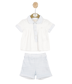 MB3344A | Boys White Top and Blue Check Shorts Set