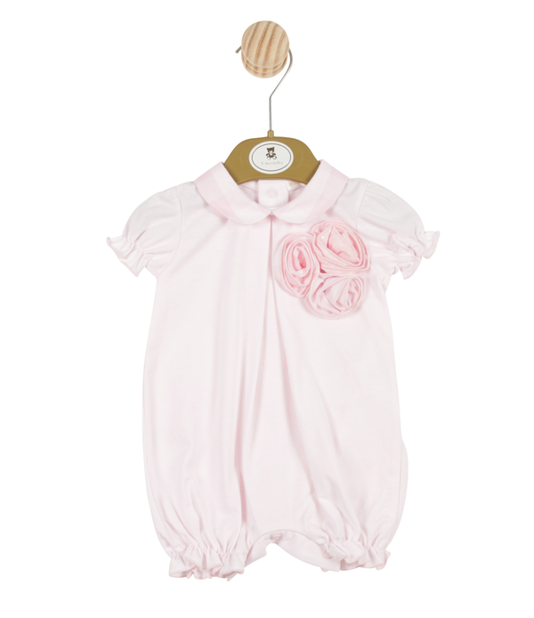 MB3350 | Girls Pink Romper with 3D Rose to Front