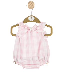 MB3355 | Girls White and Pink Romper with Ruffle Neck and Bow
