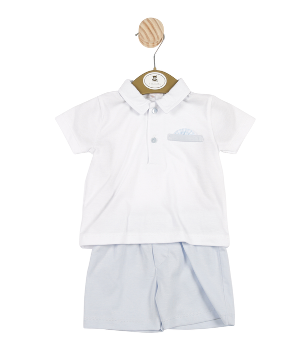 MB3365 | Boys White Shirt and Light Blue Shorts Set