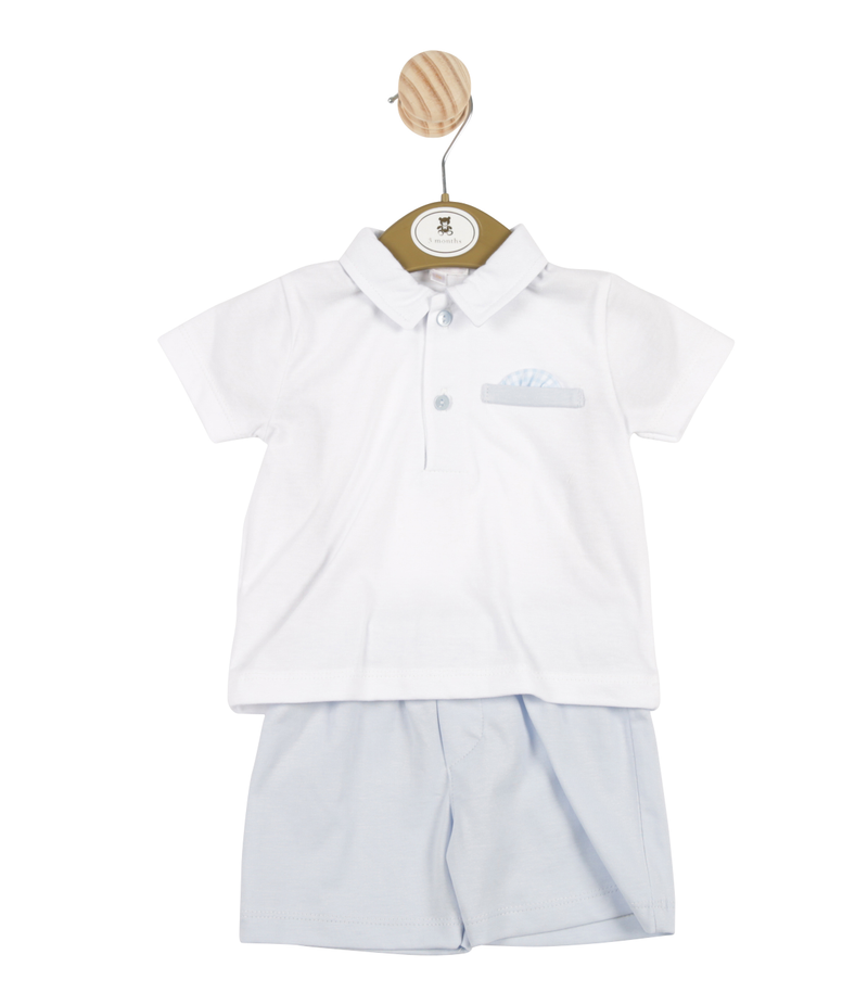 MB3365 - Delivery January | Boys White Shirt and Light Blue Shorts Set