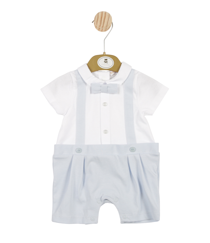 MB3366 | Boys Blue and White Romper with Bow Tie