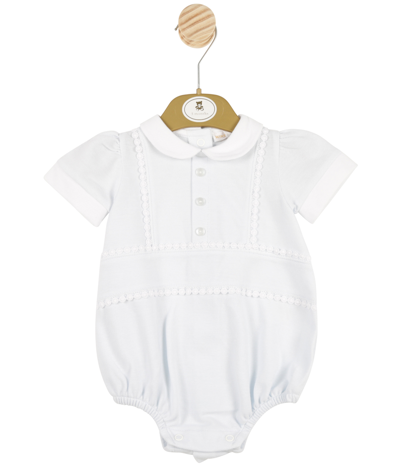 MB3380 | Boys Blue Romper with Front Buttons and White Collar