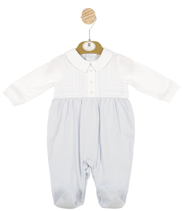 MB3382 | Boys White and Blue All-in-one with Subtle Stitching
