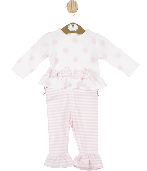 MB3385A | Girls White and Pink Bow Spotted Top with Striped Leggings