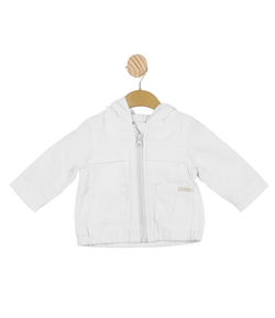MB3415C | Boys White Hooded Coat with Subtle White Contrasting Lines