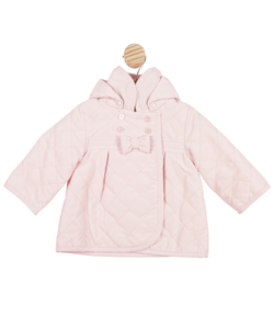 MB3419A | Girls Pink High Collar Coat with Hood and Bow