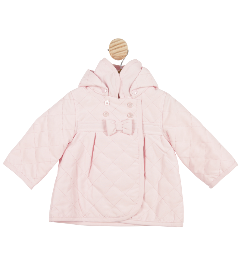 MB3419 | Girls Pink High Collar Coat with Hood and Bow