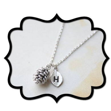 Pinecone & Leaf initial necklace