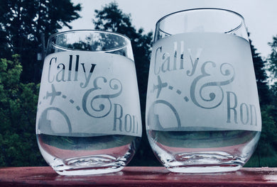 Custom wedding glasses