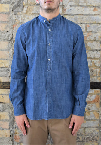 Camicia in lino color denim