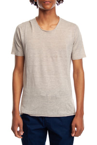 T-shirt in misto lino color natural