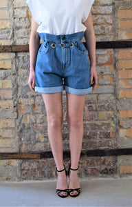 Shorts denim a vita alta blu in misto cotone