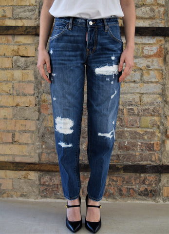 Jeans crop Hockney di colore blu