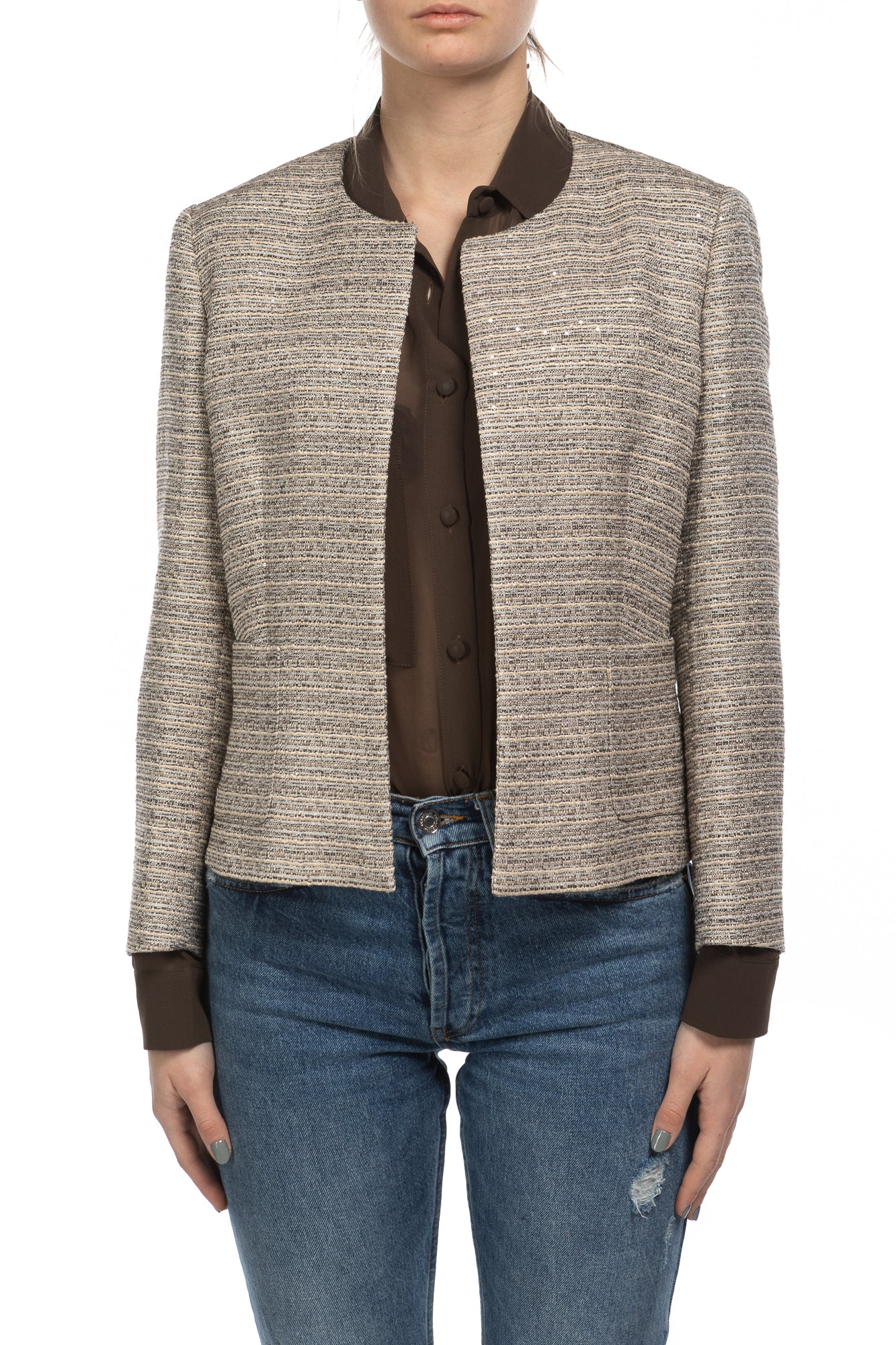 Giacca 'Lucy' in tweed di colore beige e melange