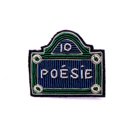 Blue and green French street sign embroided pin