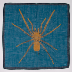 scarf with gold spider on blue ground