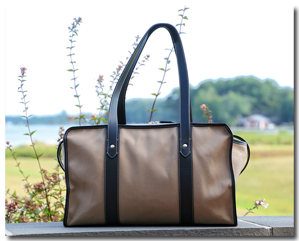 Twill weekender bag with leather handles