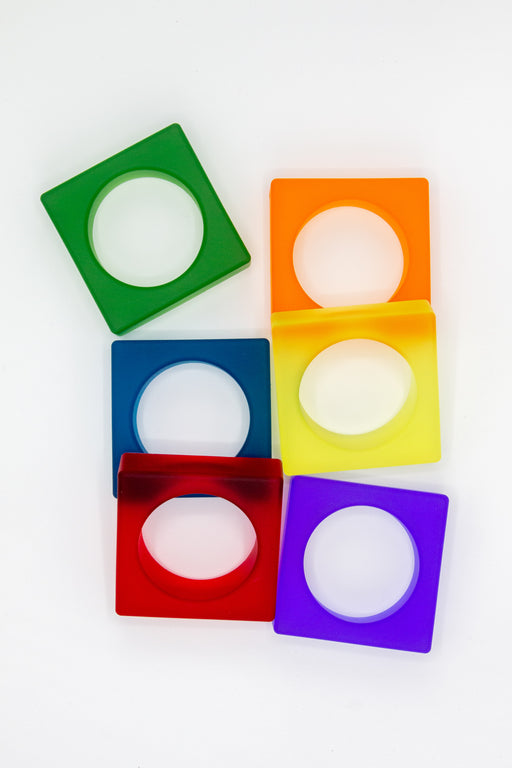 Green, orange, blue, yellow, red and purple silicone square bracelets