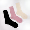 Black, pink and winter white cashmere socks