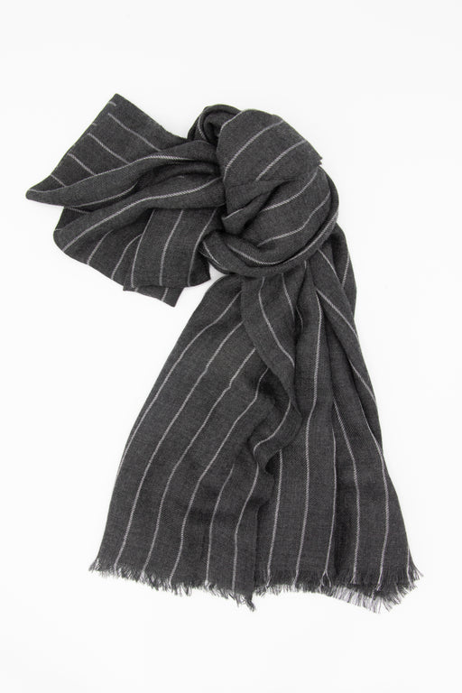 Knotted Pinstripe Cashmere Scarf
