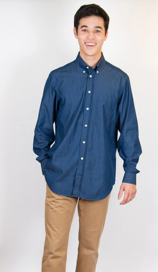 Indigo denim shirt on model