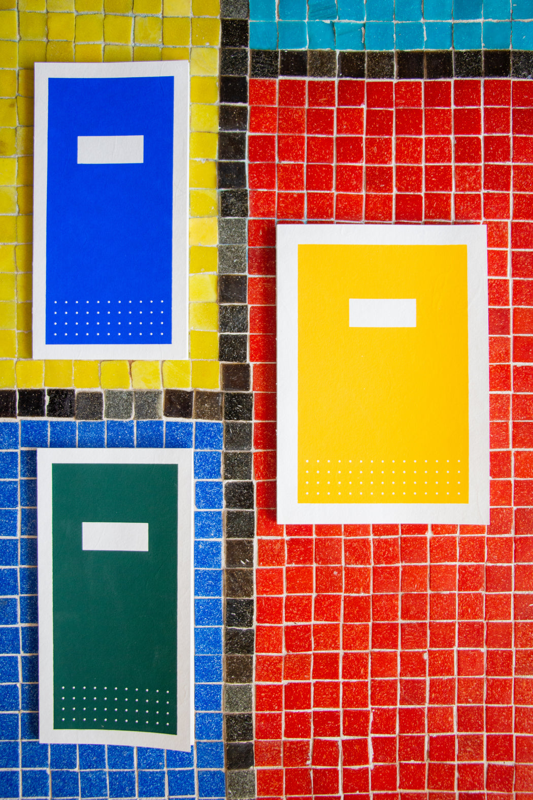 Blue, yellow and gree Hanji notebooks with silk screened covers