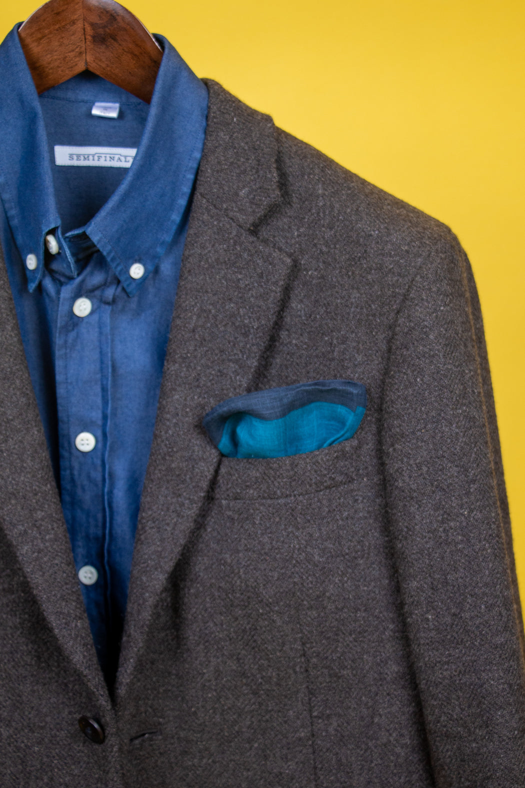 Blue cotton and linen square inside jacket pocket