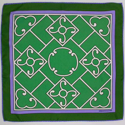 Green Lattice Silk Square