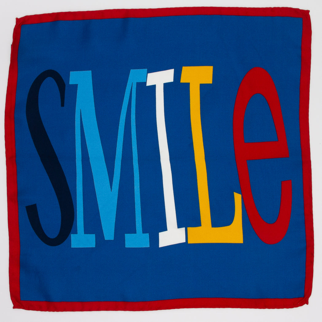 Smile text on dark blue Italian silk pocket square