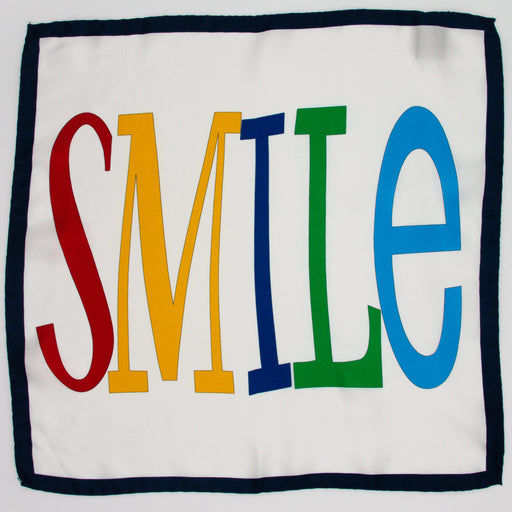Smile text on white Italian silk pocket square