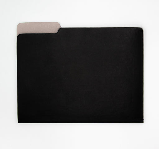 black and taupe leather file folder