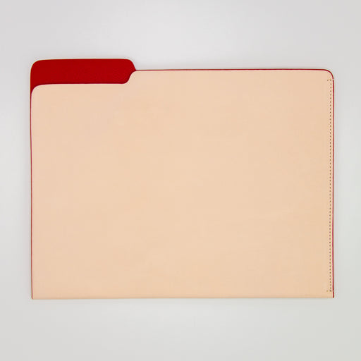 Tan and Red leather file folder