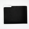 black and taupe leather file folder with notepad inside