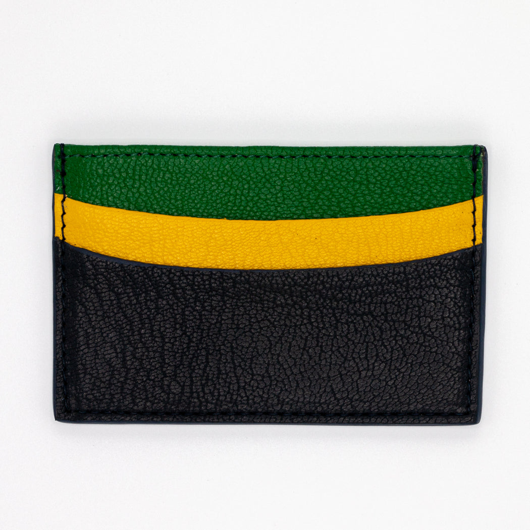 Slim goatskin card case with green, yellow and black pockets