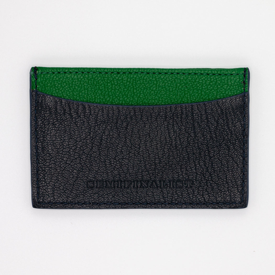 Slim goatskin card case with green and black pockets
