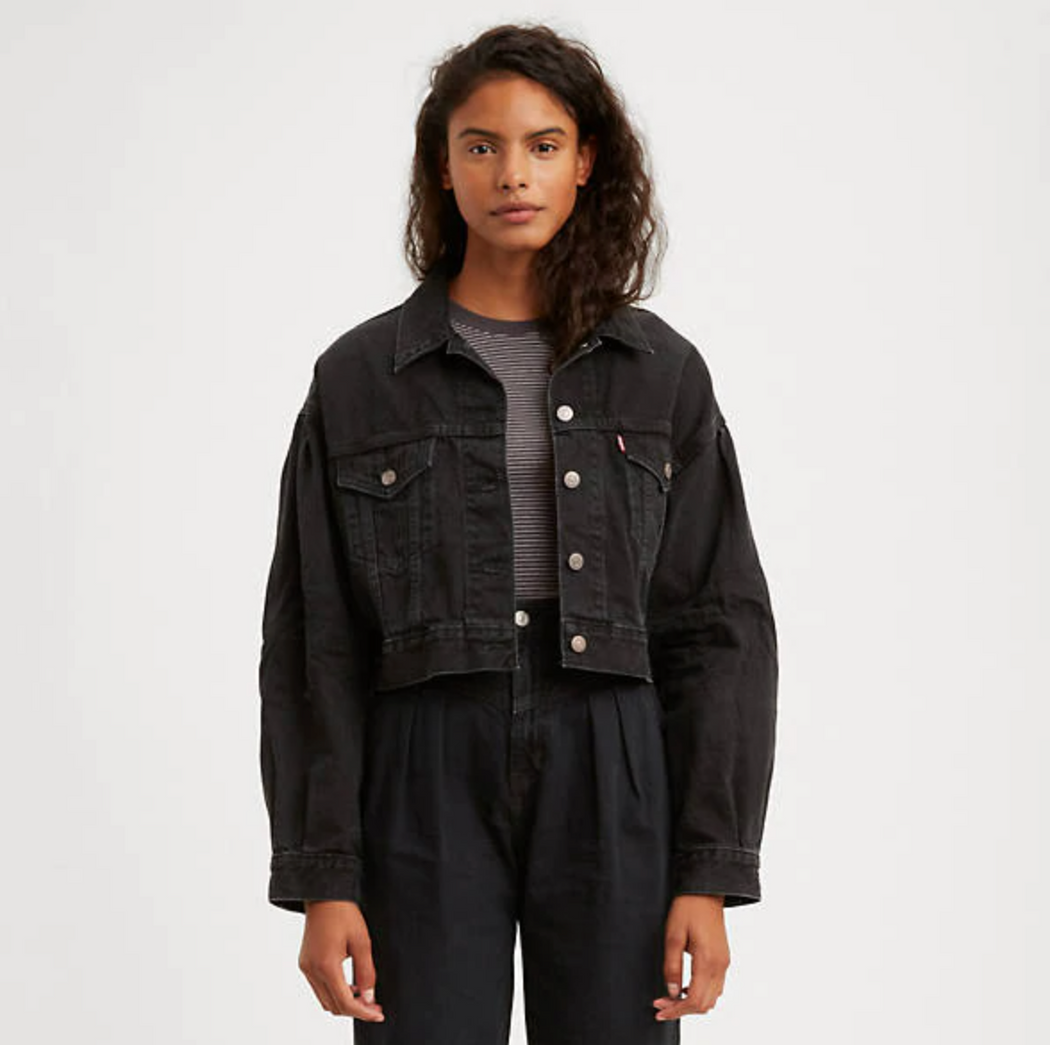 Pleated Trucker Jean Jacket