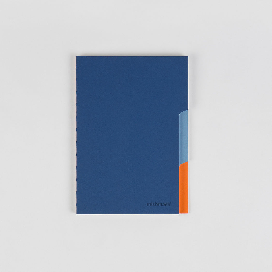 Dark blue cover notebook with light blue and orange tabs