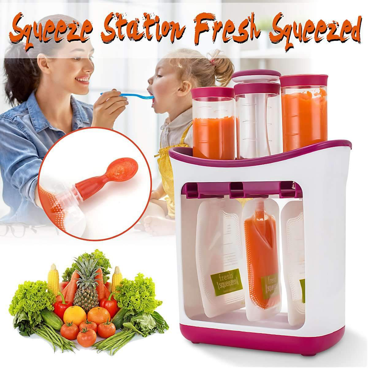 Food-grade PP Infant Baby Feeding Food Squeeze Station Toddler Fruit Maker Dispenser Homemade 10 Pouches 3 Food Dispensors