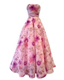Long pink floral full strapless dress