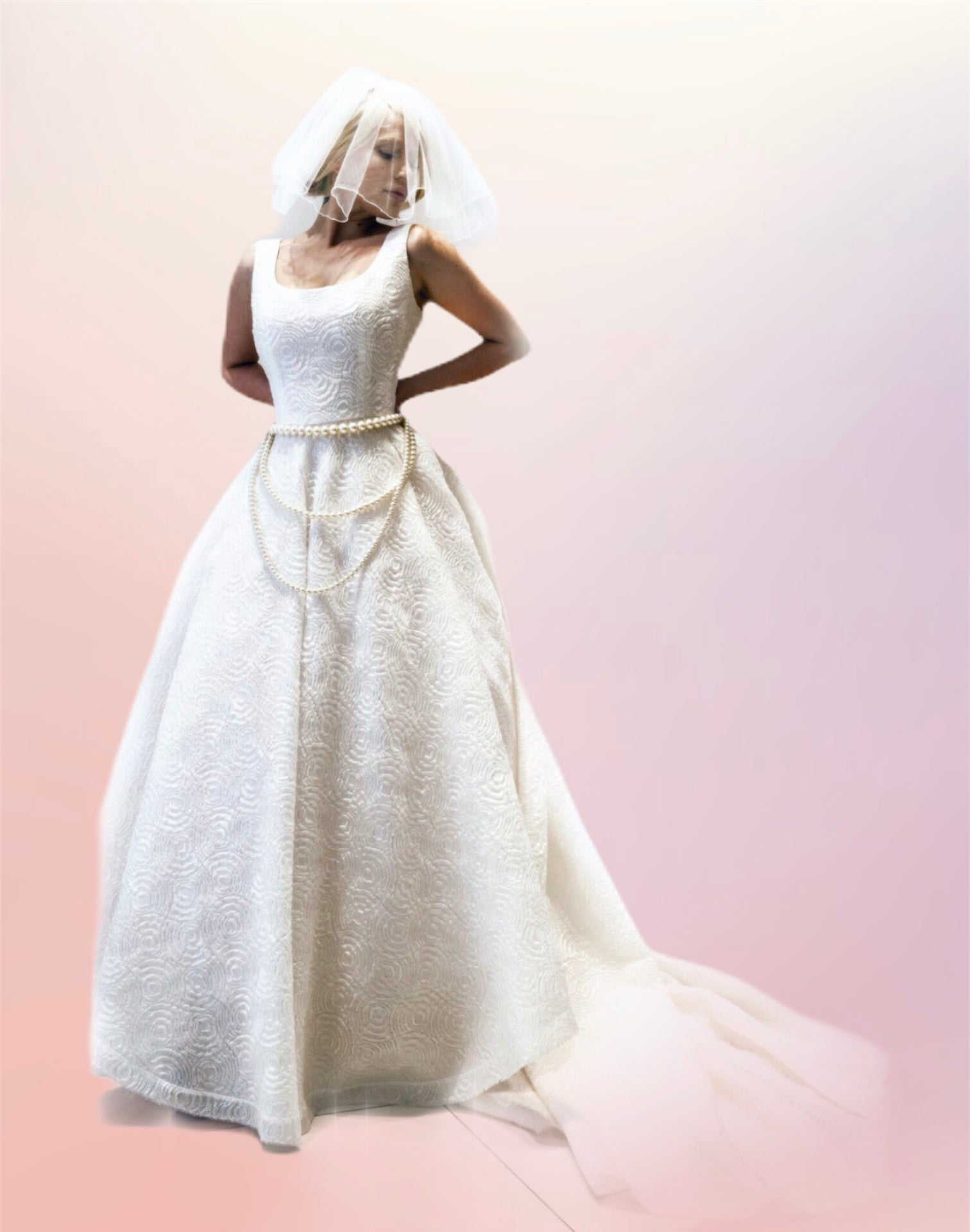 Full skirted metalic silk oraganza bridal long dress.