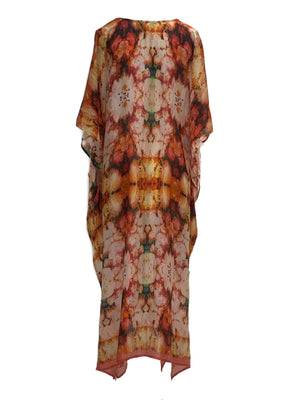 One size pure silk long kaftan.
