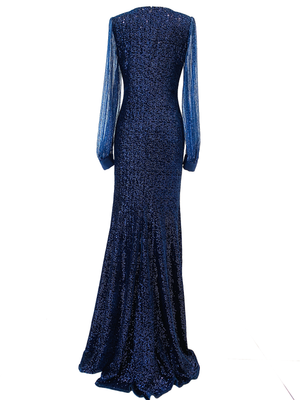 Stretch sequin velvet with tulle sequin sleeves long dress