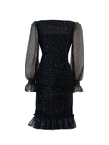 Stretch sequin velvet with sequin tulle long sleeves short dress