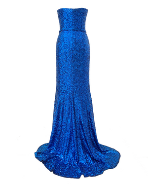 Long strapless micro sequin dress