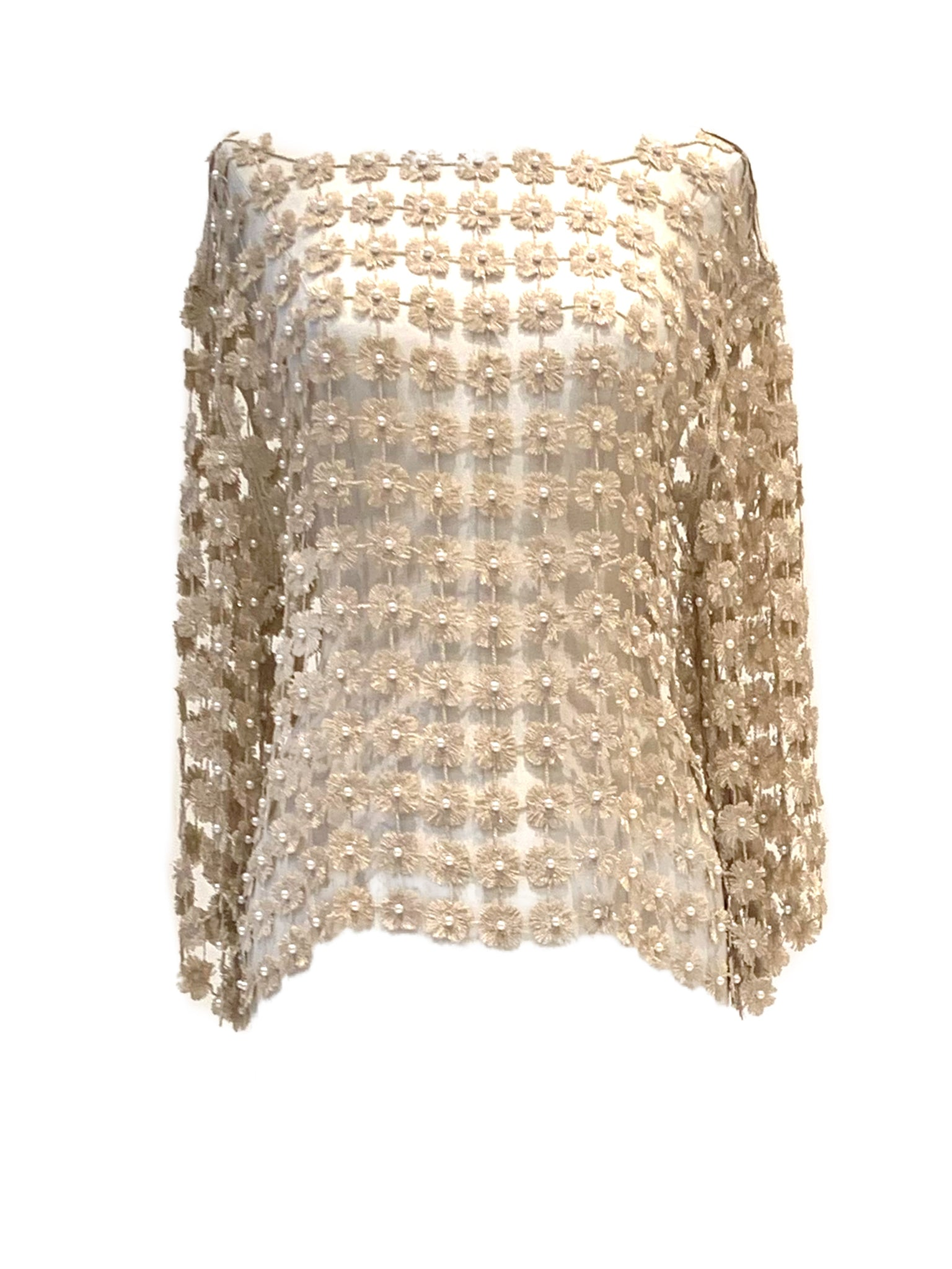 Gold lace top with pearls