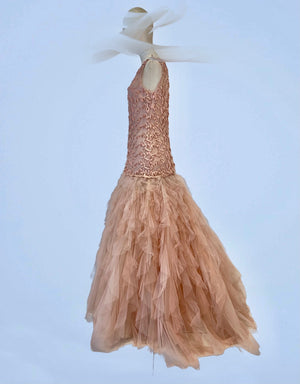 Embroidered tulle tassle and tulle layered dress