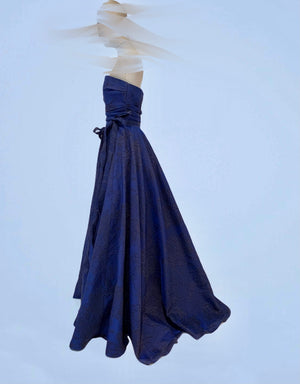 Full length midnight cloque evening dress