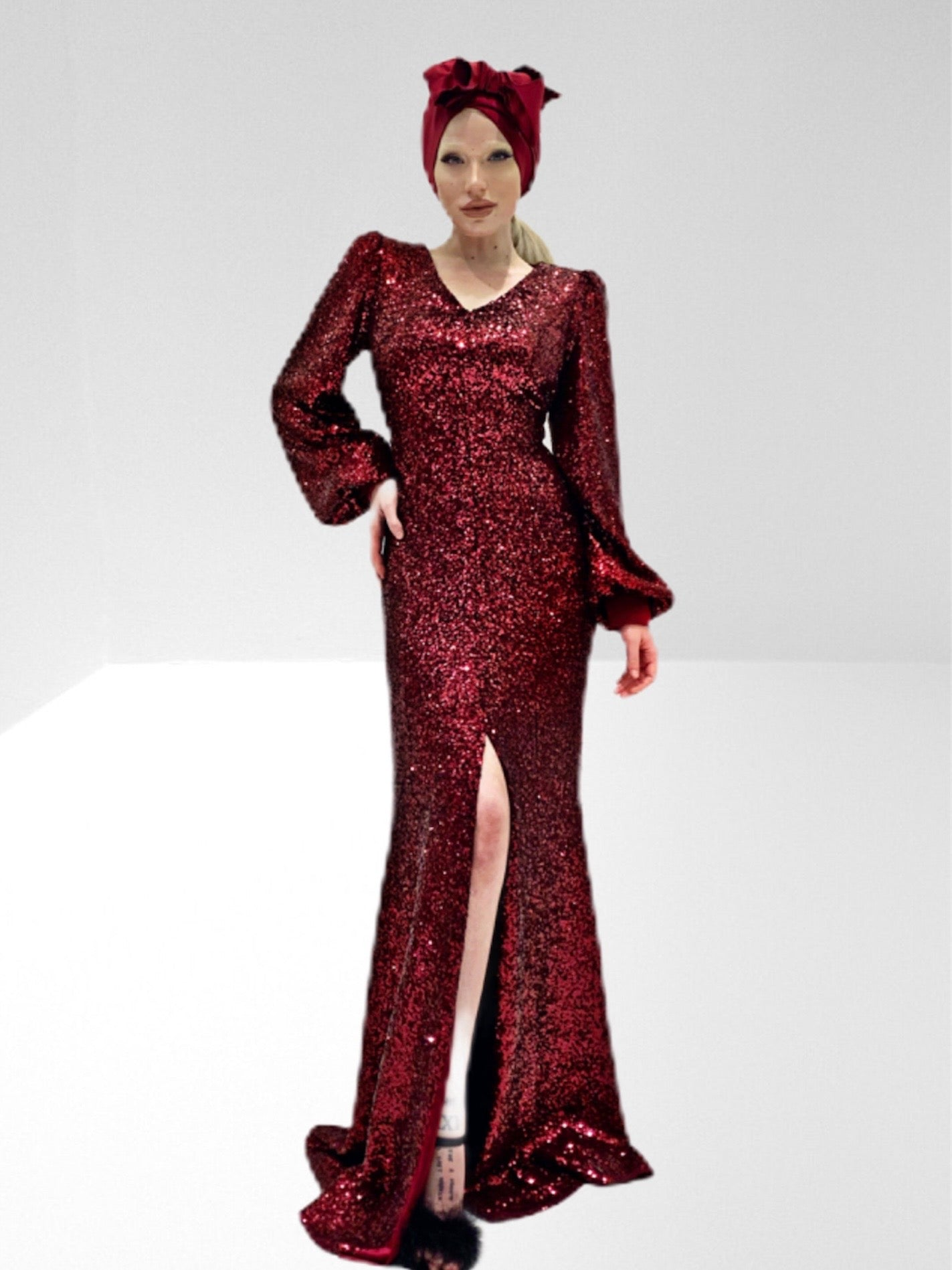 Long stretch micro sequin dress